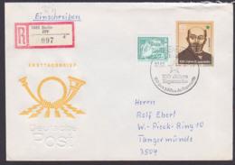 Esparanto L. L. Zamenhof DDR 3106 R-Doppel-Brief, Portogenau SoSt. Berlin 7.7.87 Ausgabetag, Marke Aus Block 87 - [6] République Démocratique