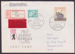 BERLIN 750 Jahre Ernst Thälmann DDR 3123 R-Eil-Doppel-Brief, Portogenau SoSt. Berlin 8.9.87 Ausgabetag, Marke Aus Bl. 89 - [6] République Démocratique