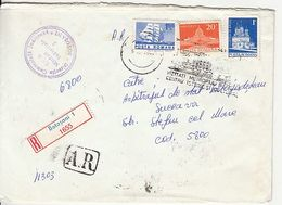 SHIP, MAUSOLEUM, MONASTERY STAMPS ON REGISTERED COVER, BOTOSANI SPECIAL POSTMARK, 1979, ROMANIA - Cartas