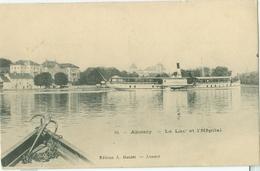 Annecy 1905; Le Lac Et L'Hôpital (et Bateau)- Voyagé. (Edition A. Gardet - Annecy) - Annecy