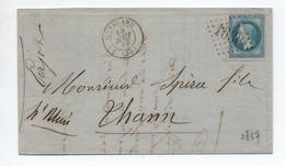1867 - LETTRE Avec TYPE 15 De GENELARD (SAONE ET LOIRE) & GC 1636 - 1849-1876: Periodo Classico