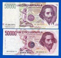 50.000 Lire    2  Billets - [ 2] 1946-… : Républic