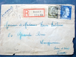 Rare Timbre Sur Enveloppe , Allemagne , 1942 ,oberkommando Der Wehrmacht...2 Timbres Et Cachets - Collections