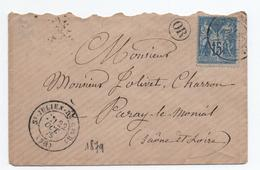 1879 - LETTRE Avec CACHET OR & TYPE 17 De SAINT JULIEN DE CIVRY (SAONE ET LOIRE) Sur TYPE SAGE - Marcophilie (Lettres)