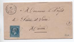 1870 - LETTRE Avec BOITE RURALE A & TYPE 15 De BLANZY SUR BOURBINCE (SAONE ET LOIRE) & GC 495 - Marcophilie (Lettres)