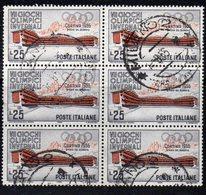 Q16 - REPUBBLICA 1956 , Sassone 25 Lire N. 795/I Stelle 2 Blocco Usato. Cortina. Un Dente Corto - 1946-60: Used
