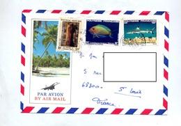 Lettre Cachet Papeete Sur Poisson Illustré - Französisch-Polynesien