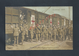 MILITARIA CPA MILITAIRE : TRAIN SANITAIRE CROIX ROUGE SOLDATS ANGLAIS 1914 OB BEAUMUNIE CALVADOS ? : - War 1914-18