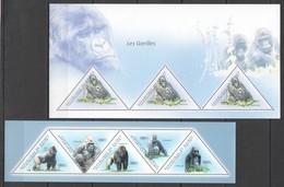 BC244 2011 GUINEE GUINEA FAUNA WILD ANIMALS LES GORILLES PRIMATES THE GORILLAS 2KB MNH - Bats