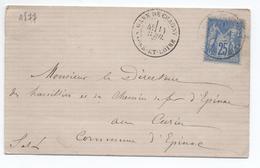 1877 - LETTRE Avec TYPE 18 GARE DE CHAGNY (SAONE ET LOIRE) Sur TYPE SAGE N° 78 - Marcophilie (Lettres)