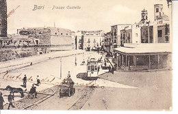 ITALIA - BARI - Piazza Castello, (non Comune) Animata Con Tram, Viag. 1918 - 2019-250 - Bari