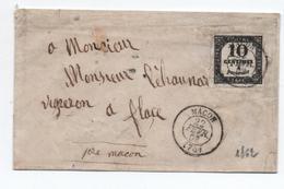 1862 - LETTRE Avec TIMBRE TAXE N° 2 IIB De MACON (SAONE ET LOIRE) - Postage Due