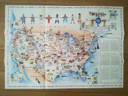 MAP SOUVENIR CARTE DU PAVILLON DES ÉTATS -  UNIS À L EXPOSITION INTERNATIONALE DE BRUXELLES DE 1958 BELGIQUE - Obj. 'Herinnering Van'