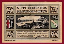 Allemagne 1 Notgeld 75 Pfenning Stadt Pfaffendorf-Coblenz (RARE) Dans L 'état N °5298 - [ 3] 1918-1933 : République De Weimar