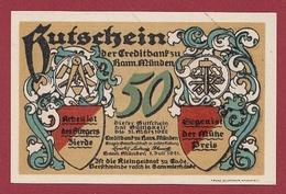Allemagne 1 Notgeld 50 Pfenning Stadt Hann Münden (RARE) Dans L 'état N °5311 - Collections