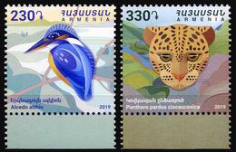 2019 Armenia, Birds, Kingfisher, Wild Cats, Panthera, 2 Stamps, MNH - Stamps