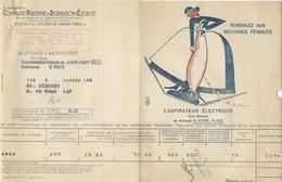 COMPAGNIE PARISIENNE De DISTRIBUTION D'ÉLECTRICITÉ Rue De Vienne Quittance 1935 Aspirateur Bien 2 Scans - Electricité & Gaz