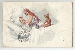Cpa Illustrateur Ak Ou Rk  Signé Bébé Enfant Avec Poupée Ours De Russie 1913 Série Bkwl 869-3- 2 Scans - Other Illustrators