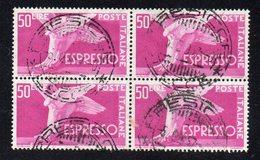 Q40 - REPUBBLICA 1955, Espressi 50 Lire Sassone N. 33/I : Quartina Usata Fil Stelle II . NON FACILE - 6. 1946-.. Republic