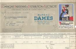 COMPAGNIE PARISIENNE De DISTRIBUTION D'ÉLECTRICITÉ Bureau DAMES Quittance 1935 Cadeaux électriques  Bien 2 Scans - Electricité & Gaz