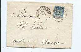 Lettre De Lyon Les Terreaux Pour Orange Vaucluse 1897  Ordres De Bourse  Bordereaux Des Effets Remis Timbre N°YT 90 - Marcophilie (Lettres)