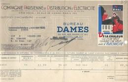 COMPAGNIE PARISIENNE De DISTRIBUTION D'ÉLECTRICITÉ Bureau DAMES Quittance 1936 Chaleur Où L'on Veut  Bien 2 Scans - Electricité & Gaz