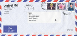 Laos Air Mail Cover UNICEF Lao PDR Sent To Denmark 7-5-2003 Topic Stamps - Laos