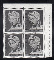 Q41 - REPUBBLICA 1955, Posta Aerea 185 Lire N. 156 : Quartina Usata. Michelangelo - 6. 1946-.. Republic