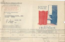COMPAGNIE PARISIENNE De DISTRIBUTION D'ÉLECTRICITÉ Bureau DAMES Quittance 1936 Bain Chaud Chauffe Eau Bien 2 Scans - Electricité & Gaz