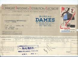 COMPAGNIE PARISIENNE De DISTRIBUTION D'ÉLECTRICITÉ Bureau DAMES Quittance 1936 Aspitateur électrique Bien 2 Scans - Electricité & Gaz