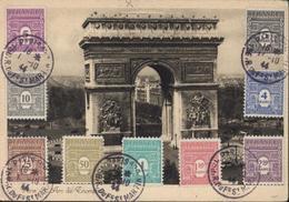 CM Carte Maximum Paris Arc De Triomphe YT 620 à 628 CAD Paris 42 ? 58 R Faubourg St Martin 1 10 44 - Cartas Máxima