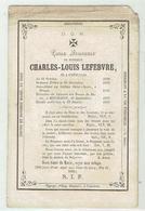 Charles Louis LEFEBVRE  - Courtrai 1830 - 1861 - College St Louis Bruges - Dir. Couvent Des Dames à Mouscron - Devotieprenten