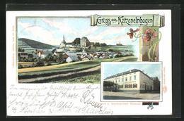 Lithographie Katzenelnbogen, Hotel Bremser, Gesamtansicht - Deutschland