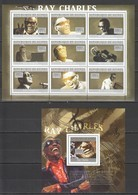 BC353 2010 GUINEE GUINEA FAMOUS PEOPLE RAY CHARLES 1KB+1BL MNH - Singers