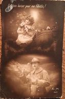"""CPA Fantaisie, Soldat Adressant """"un Gros Baiser Pour Sa Fillette"""", éd EM - Guerre 1914-18"""