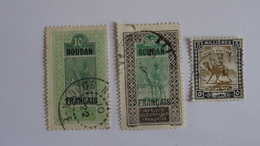AOF - SOUDAN - 1921 - 3 TIMBRES N°24 / 27 / 33 Yvert - Obli - Used - Used Stamps