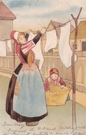 Mother Putting Clothes On The Hanger, Daughter Helping, Bonnets, PU-1904 - Children And Family Groups