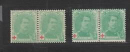 COB 129 + 129a ** Neuf Sans Charnière En Paire Cote 76€ - 1914-1915 Red Cross