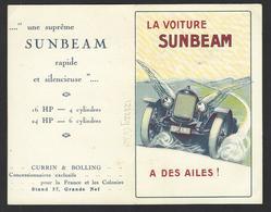 CPA Publicité Voiture Automobile Publicitaire Réclame Non Circulé Carte Double Voir Scans Sunbeam - Advertising