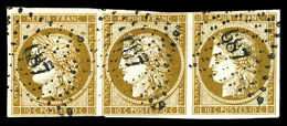 O N°1, 10c Bistre-jaune, Bande De 3 Obl '687'. TTB (certificat)  Qualité: O  Cote: 1750 Euros - 1849-1850 Cérès