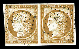 O N°1, 10c Bistre-jaune En Paire Horizontale, Jolie Pièce (signé Brun/certificat)  Qualité: O  Cote: 900 Euros - 1849-1850 Cérès