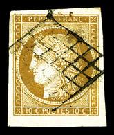 O N°1, 10c Bistre-jaune, Belles Marges. SUP (signé Scheller/certificat)  Qualité: O - 1849-1850 Cérès