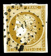 O N°1, 10c Bistre-jaune, Jolie Pièce, TB (signé Brun/certificat)  Qualité: O  Cote: 350 Euros - 1849-1850 Cérès
