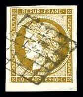 O N°1b, 10c Bistre-verdâtre, Belles Marges Avec Bdf. TTB (certificat)  Qualité: O  Cote: 500 Euros - 1849-1850 Cérès