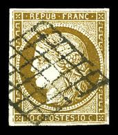 O N°1c, 10c Bistre-verdâtre Très Foncé Obl Grille, Nuance Particulièrement Exceptionnelle. TTB (signé Brun/certificat)   - 1849-1850 Cérès