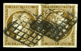 O N°1e, 10c Bistre-verdâtre En Paire Tête-bêche Obl Grille, PIECE SUPERBE. R.R. (signé Calves/Brun/certificats)  Qualité - 1849-1850 Cérès