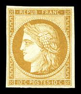 ** N°1f, 10c Bistre Clair, Impression De 1862, Fraîcheur Postale. SUP (certificat)  Qualité: ** - 1849-1850 Cérès