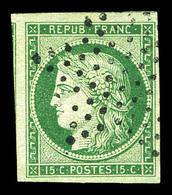 O N°2, 15c Vert, Obl étoile Légère, Jolies Marges Dont Voisins. SUP (signé Scheller/certificat)  Qualité: O - 1849-1850 Cérès
