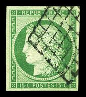 O N°2, 15c Vert Oblitéré Grille. TTB (certificats)  Qualité: O  Cote: 1050 Euros - 1849-1850 Cérès