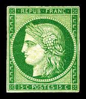 * N°2b, 15c Vert Foncé, Très Belle Nuance Et Grande Fraîcheur. TTB. R.R. (signé Brun/Certificats)  Qualité: *  Cote: 300 - 1849-1850 Cérès